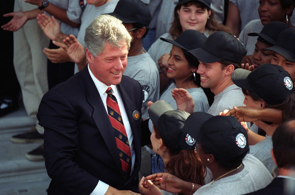 Clinton and AmeriCorps members