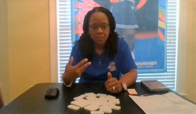 Math Corps tutor on video