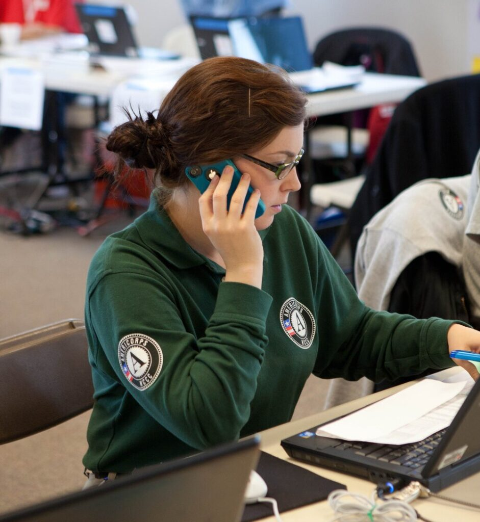 AmeriCorps person on the phone