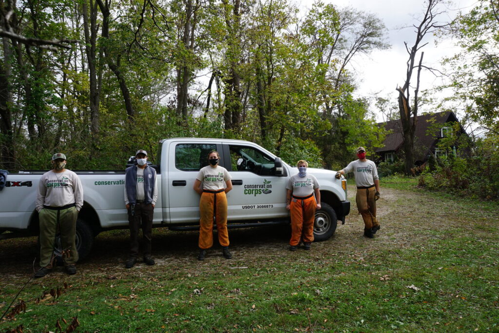 conservation corps and truck